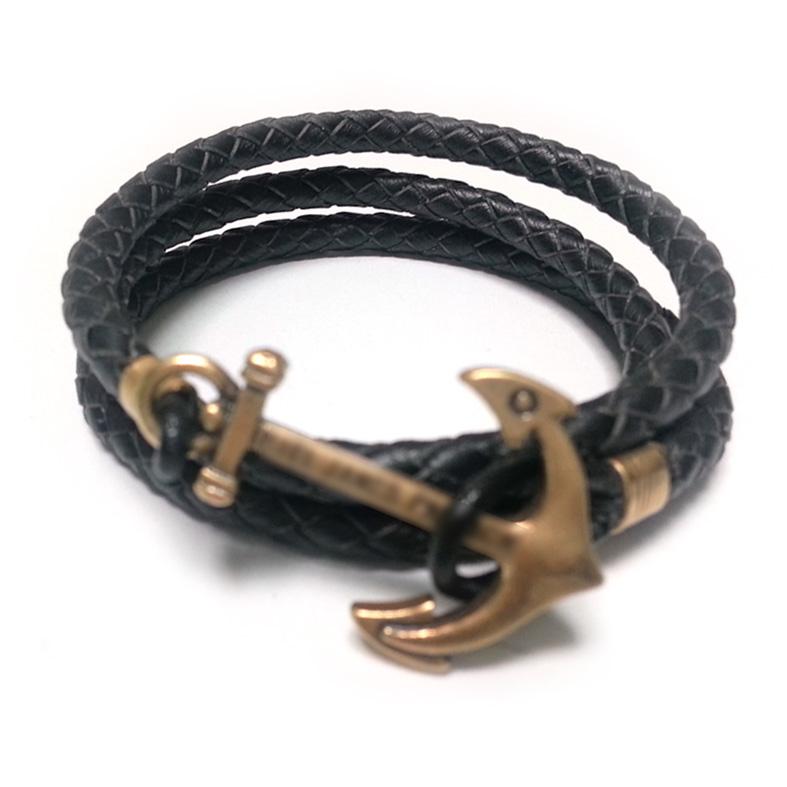 Europe and the United States fashion hand woven ship anchor Navy wind Leather Bracelet male female couple Bracelet(China (Mainland))