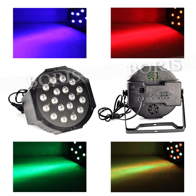 Professional 18W 6 Channel RGB 18x LED Flat Par Light AC110-240V 6CH DMX512 For Club Bar DJ Stage Party DISC Wedding<br><br>Aliexpress