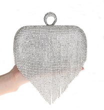 2016 Tassel Rhinestone Finger Ring Evening Bags Diamonds Wedding Handbags Women Day Clutch Mini Purse Bag With Chain Mixed Color(China (Mainland))