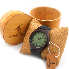 BOBO BIRD F03 Vintage Black Wood Watches With Real Leather Band Men's Top Brand Design Quartz Watches With Round Bamboo Box(China (Mainland))