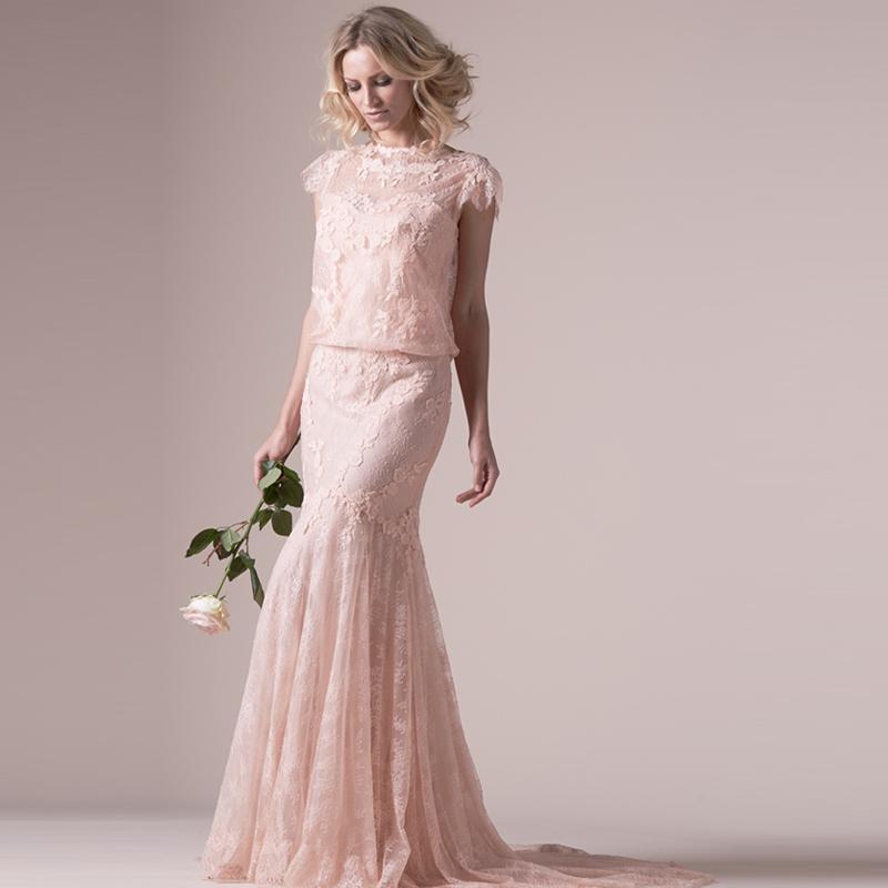 Fantastic blush pink lace wedding dresses 2016 new bohemia for Lace blush wedding dress