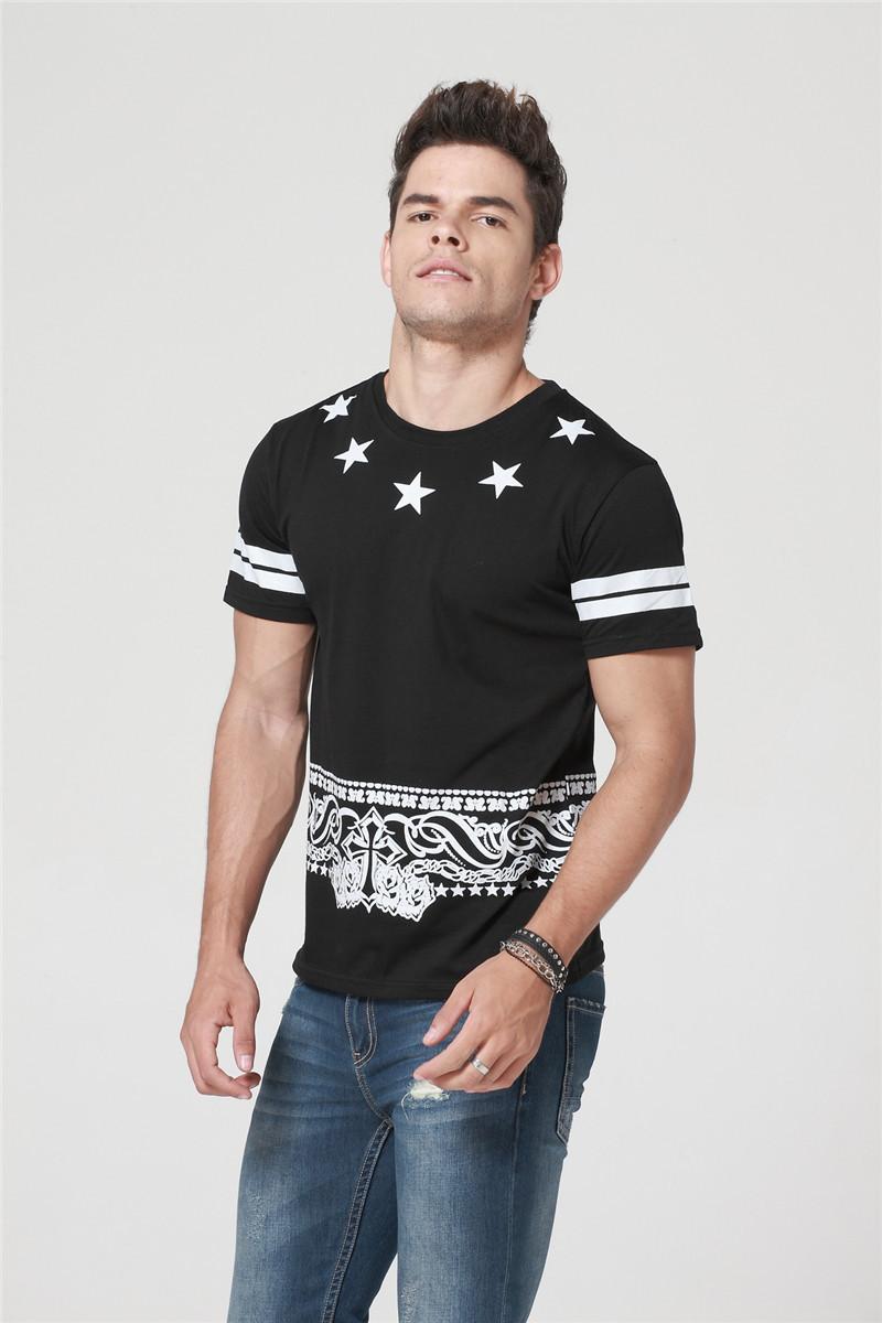 Cuoka Brand Hip Hop Pyrex T-Shirt 09 Star Printed T shirt Men HBA Cashew Rock T-shirts For Skateboard Swag Tops&Tees Size M-XXL