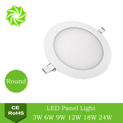 Ultra Thin Design 3/6/9/12/15/18/24W LED Ceiling Recessed Grid Downlight Slim Round LED Panel Light 90-265V free shipping(China (Mainland))