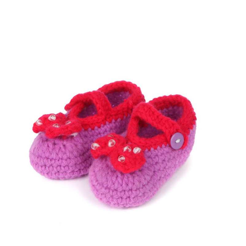 Multicolor Bowknot Crochet Baby Booties Patterns Handmade Girls Shoes New Born Toddler Shoes 10 cm(China (Mainland))