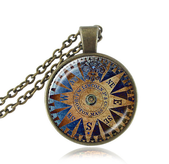 Compass necklace glass dome pendant compass jewelry Nautical photo necklaces vintage compasses letter quote jewellery wholesale(China (Mainland))