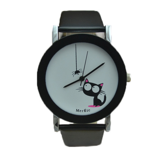 funny cute kids cat fashion watch women 2015 spider new black white pink Wristwatch hour lady child girl dress causal quartz hot(China (Mainland))