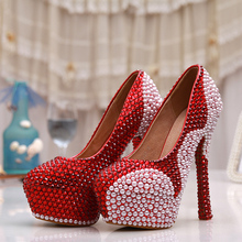 Wine red crystal white pearl bride dress shoes WOMEN wedding shoes pearl rhinestone high-heeled shoes(China (Mainland))
