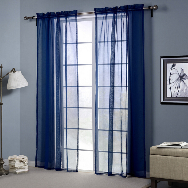 Drapes Sheer Window Curtains For Living Room Blue Shade
