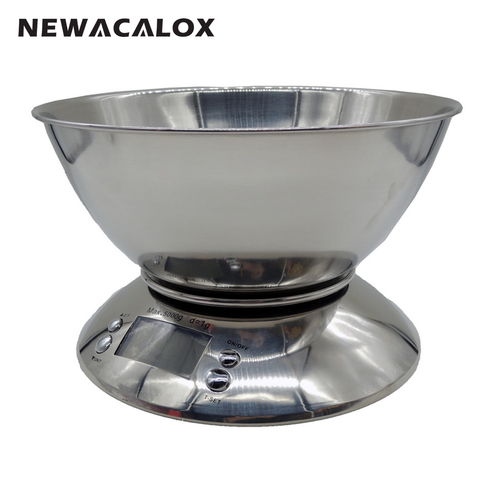 NEWACALOX Cooking Tool Stainless Steel Electronic Weight Scale Food Balance Cuisine Precision Kitchen Scales Bowl 5kg 1g