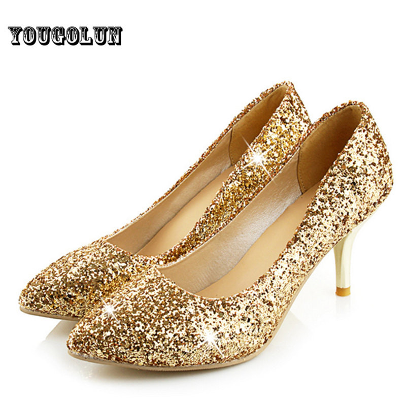 Womens Gold Pumps
