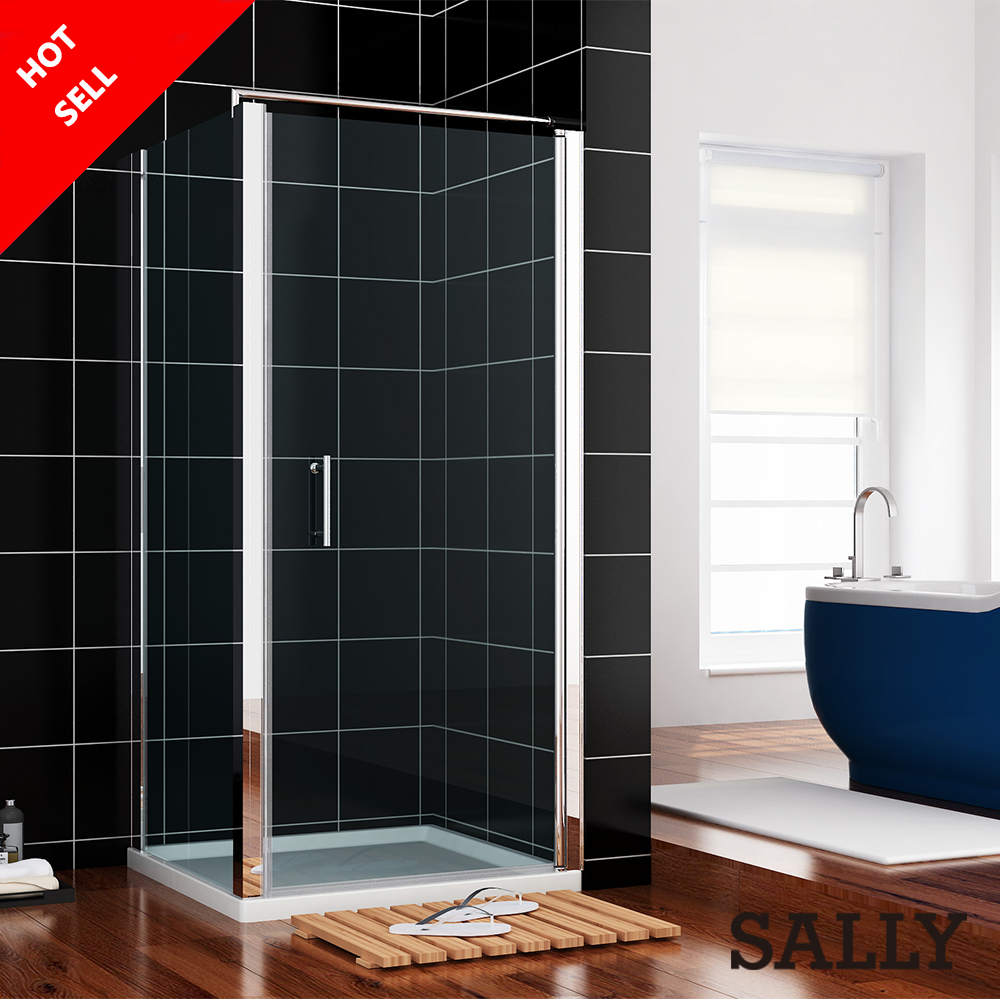 760x800mm Frameless Pivot Shower Enclosures+Glass Cubicle Side Panel+Stone tray<br><br>Aliexpress