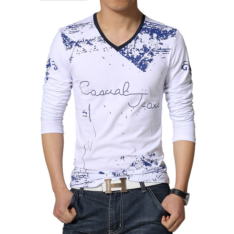 2015 New Mens Long Sleeved T-Shirts Graffiti V-neck Fashion Casual Slim Fit TShirt Plus Size:S~5XL 4 Colors T212 - firefox store