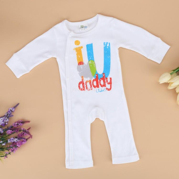 Newborn Baby Girls Boy O-Neck Long Sleeve Letter Print Soft One Piece Jumpsuit 18(China (Mainland))