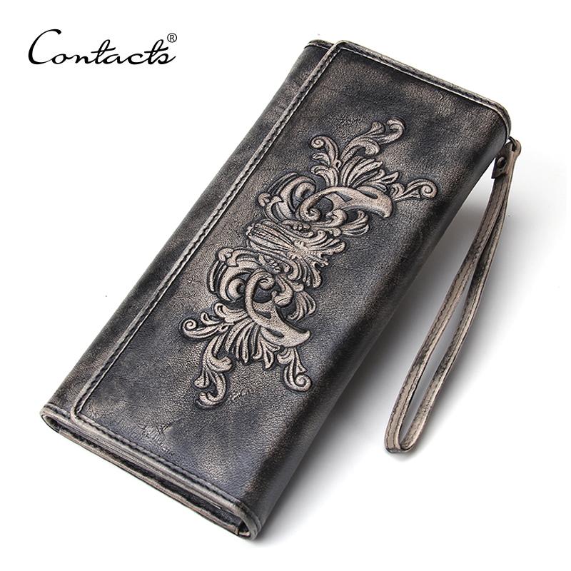 Retro luxury Dark Gray Men Wallet Clutch Vintage 100% Genuine Leather Wallet With Wrist Hand Bag Brand Design Floral Long Purse<br><br>Aliexpress