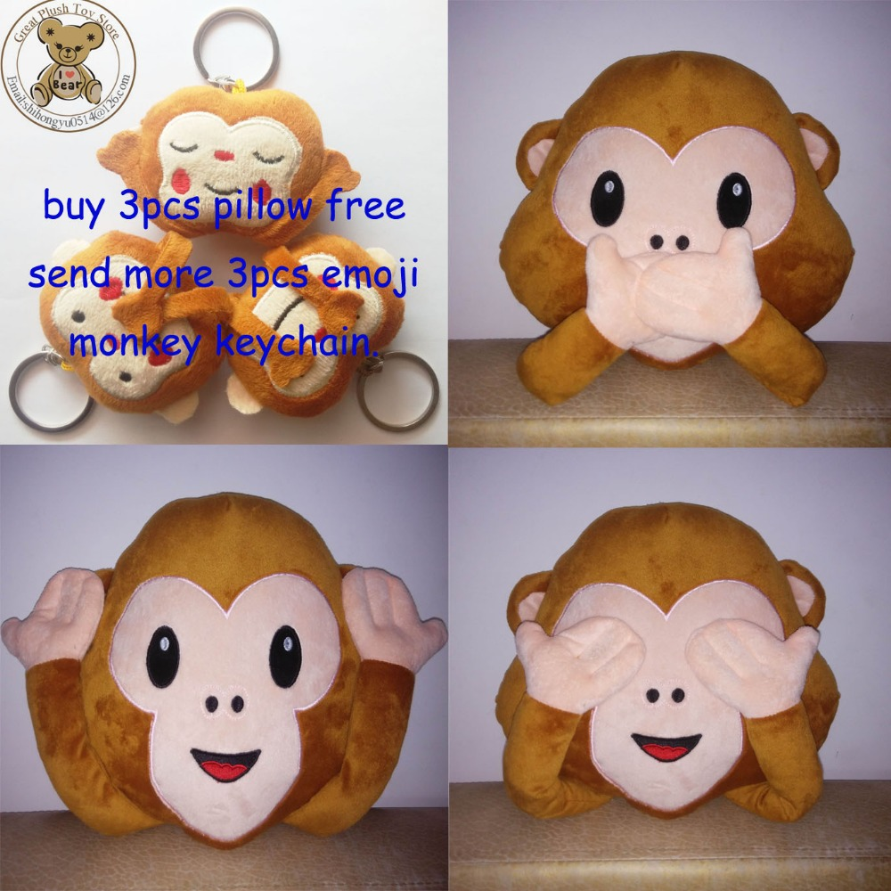 New Emoji Pillow For Whats app, No Saying No Looking and No Listening Emoji Monkey Pillow & Cushion, Stuffed & Plush Monkey Toy(China (Mainland))