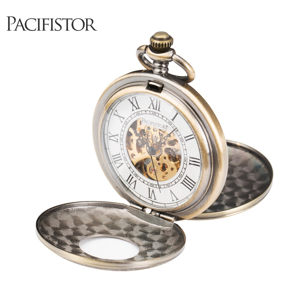 PACIFISTOR Pocket Watches Vintage Necklace Mechanical Skeleton Pendant Mechanical Pocket Watch Reloj Hollow Carving Roman Style(Hong Kong)
