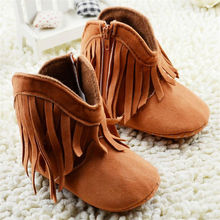 Baby Winter Shoes Scarpe Bambino Infant Shoes Girls Brown Tessel Flock Bottom High Quality New 2015 Newborn Shoes 0-18M(China (Mainland))