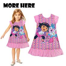 Hot pajamas Summer Nightgowns Dora Sophia Princess Girl print Cartoon nightdress for girls sleepwear polyester kids