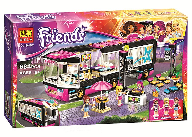 2016 New Friends series Pop Star Tour Bus model building blocks 684pcs 10407 Building Block set Compatible With Legoe in Stock(China (Mainland))