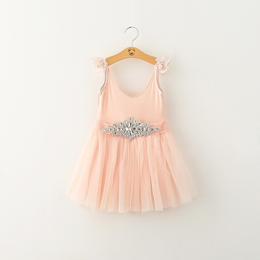 Dress with rhinestone belt flower girls dresses for party and wedding