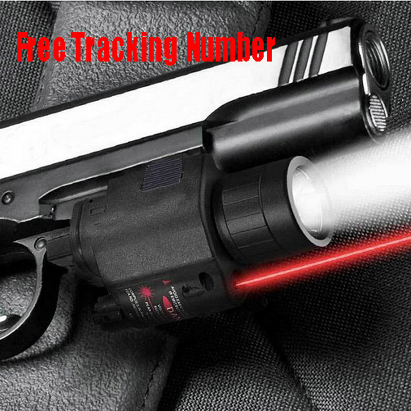 Tactical CREE LED Flashlight/Red Laser Sight Combo Weaver Picatinny Rail Mount w Remote Switch fit 4 gun Glock 17 19 22 20 23(China (Mainland))