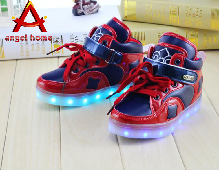 2016 season explosions USB charging LED lights shoes children girls boys female man casual wear EUR 28-39 big size