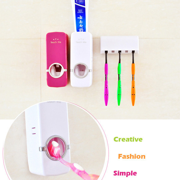 Гаджет  Practical Automatic Toothpaste Dispenser 5 Toothbrush Holder Set Wall Mount Stand toothbrush Family sets None Мебель