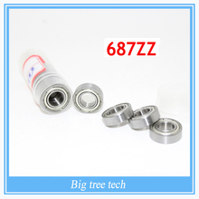 20pcs Stainless Steel Ball Bearings Free shipping 687 687Z 687ZZ 7*14*5mm chrome steel deep groove bearing for 3D printer part