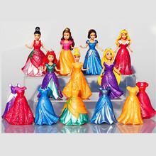 14pcs/set Princess Play Set Snow White Ariel Belle Rapunzel Aurora PVC Action Figures Toys Dolls Dress Clothes Changeable
