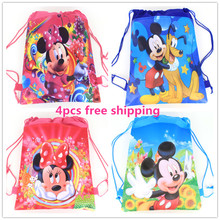 4pcs cartoon Mouse party decoration backpack school pen pencil birthday gift mochila drawstring bag for kids girls boys(China (Mainland))