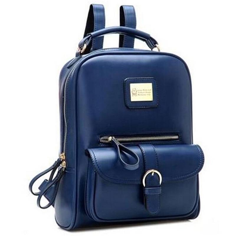2014 women men England preppy style pu leather backpack Korean women's men's 5 colors school backpacks 25x10x34 cm