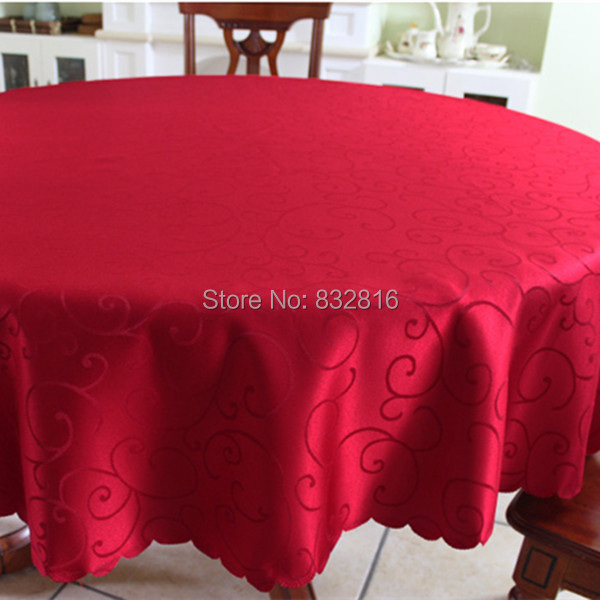 Polyester Jacquard Rectangular Tablecloth Outdoor Red Solid Round Table Linen Table Covers For Wedding 140x180cm/180cm round(China (Mainland))