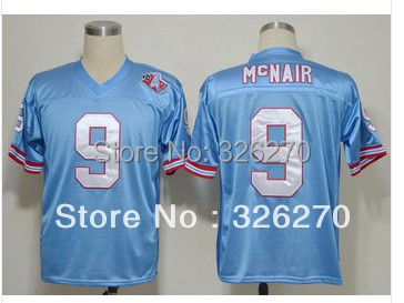 Free Shipping! #9 Steve McNair 1985 Stitched Football Blue Jersey Embroidery American Jerseys,Size 48-56(China (Mainland))