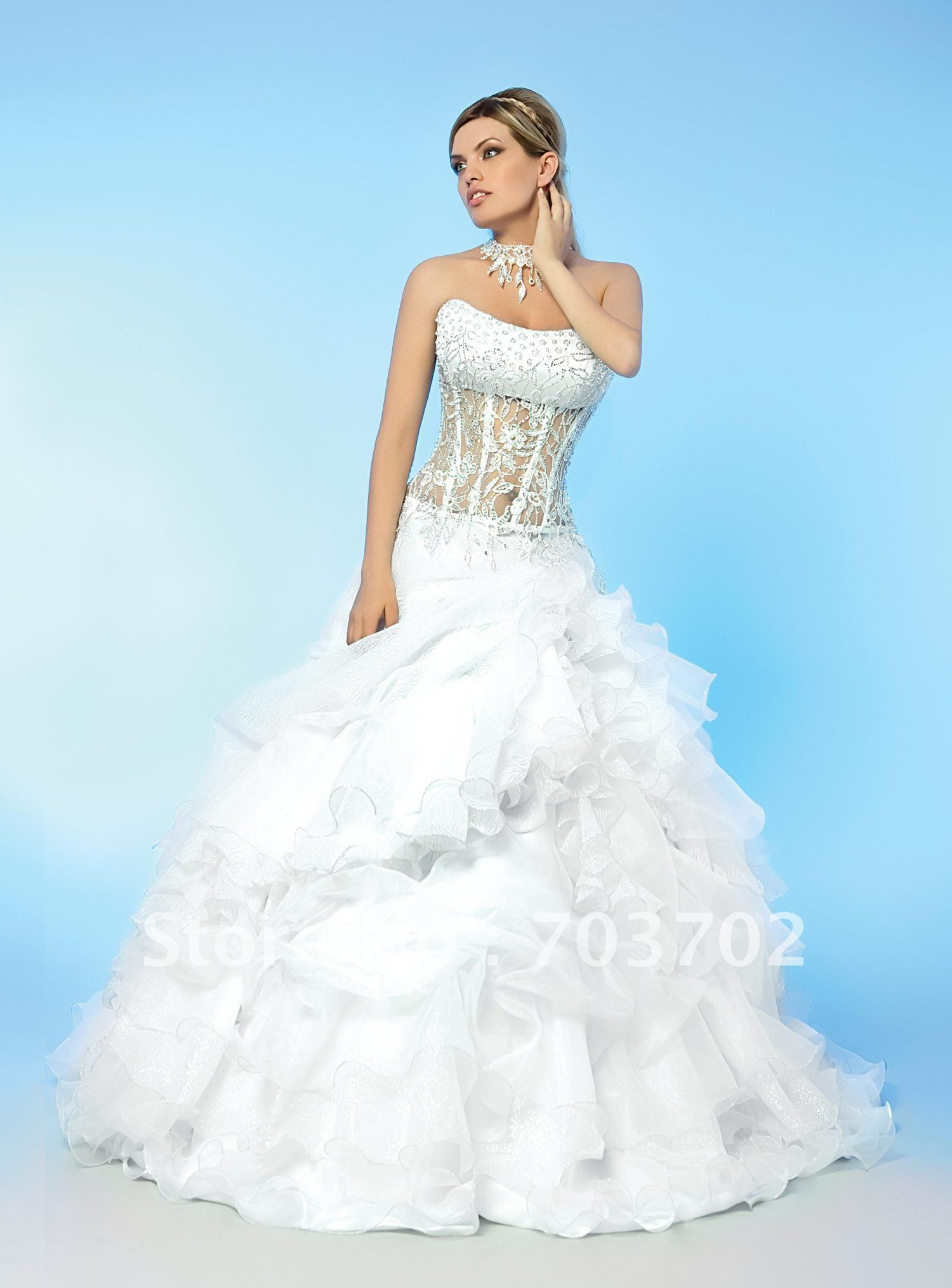 Popular style strapless beaded corset ball gown organza for Best bustier for strapless wedding dress
