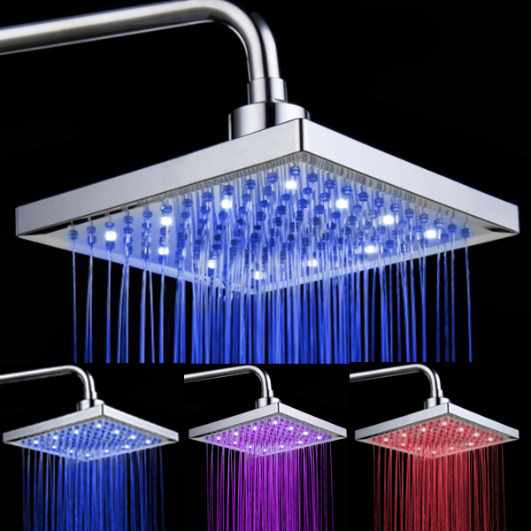 8-inch Water Powered Rainfall Led Shower Head.Bathroom 3-Color Changing LED Light Water Shower Head Shower Faucet Nozzle(China (Mainland))