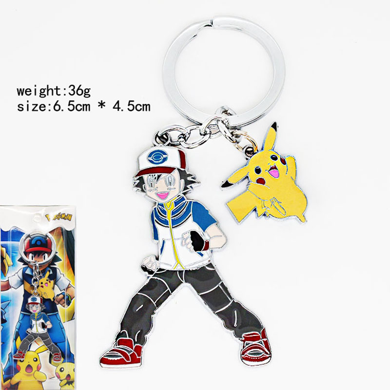 Monsters Series Ash Pikachu Hollow Keychain Pendent Key Rings Jewelry for car Souvenir Chaveiro Drop-shipping KT2812(China (Mainland))