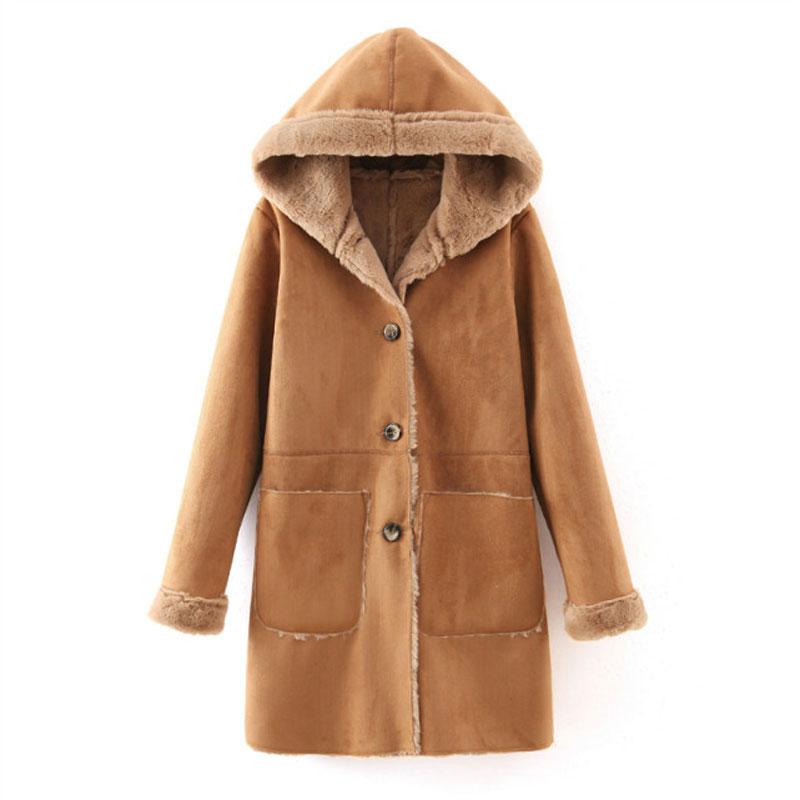 Thicken Hooded Khaki Winter Overcoat Women 2015 Fashion Single Breasted Slim Women's Woolen Coat Autumn Solid Long Wool Coats