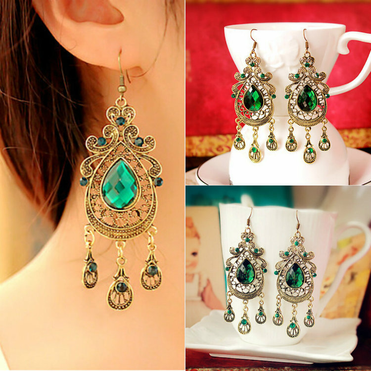 European and American retro style palace green water drop earrings exaggerated female long section of large earrings for women(China (Mainland))