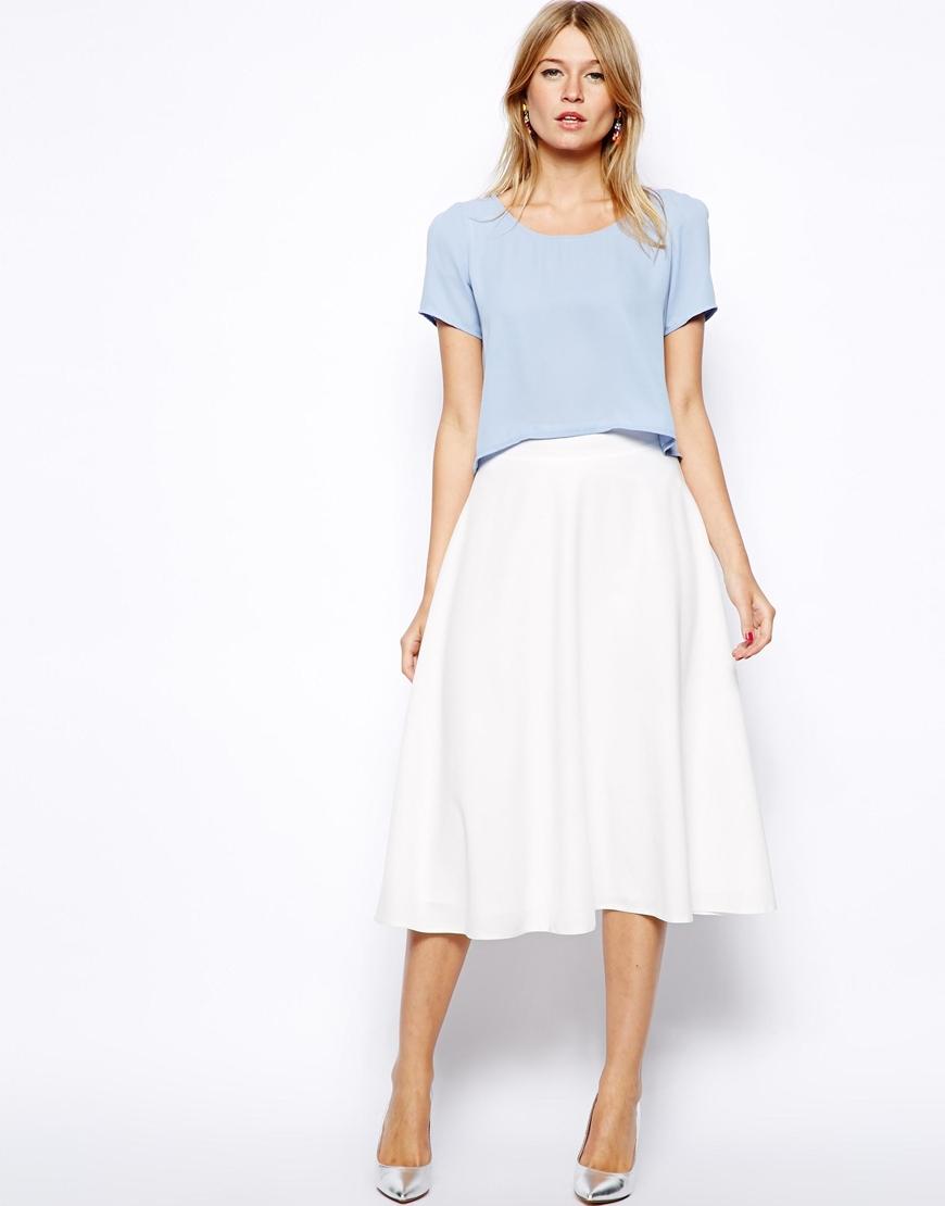 new fashions black and white casual midi skirt high waist
