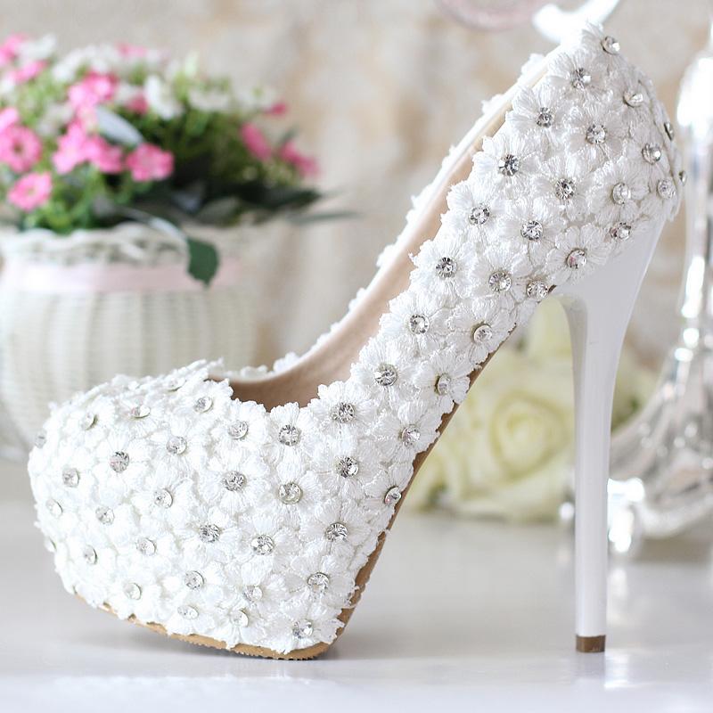 2016 Натуральная Кожа Роскошный горный хрусталь свадебная обувь белые ультра высокие каблуки свадебные туфли Свадебные Туфли На Платформе Свадебные Туфли