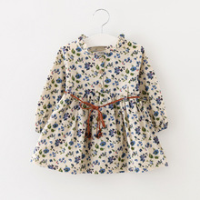 2016 new style baby dress korean cotton and linen long-sleeved floral baby grils princess dress cute infantil vestidos YP44