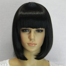 2015 chinese best black short synthetic bobo hair wigs with bangs cheap price sales high quality black short bob wigs for women(China (Mainland))