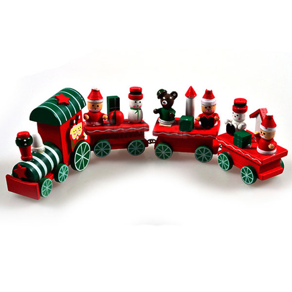 2015 Hot New Lovely Cute Charming 4 Piece little train Wood Christmas Xmas Train Ornament Decor Gift(China (Mainland))
