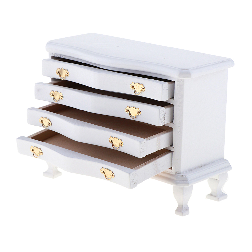 1/12 Dollhouse Miniature Furniture White Dresser 4-Drawer Cabinet Living Room Bedroom Life Scenes Decor Accessories