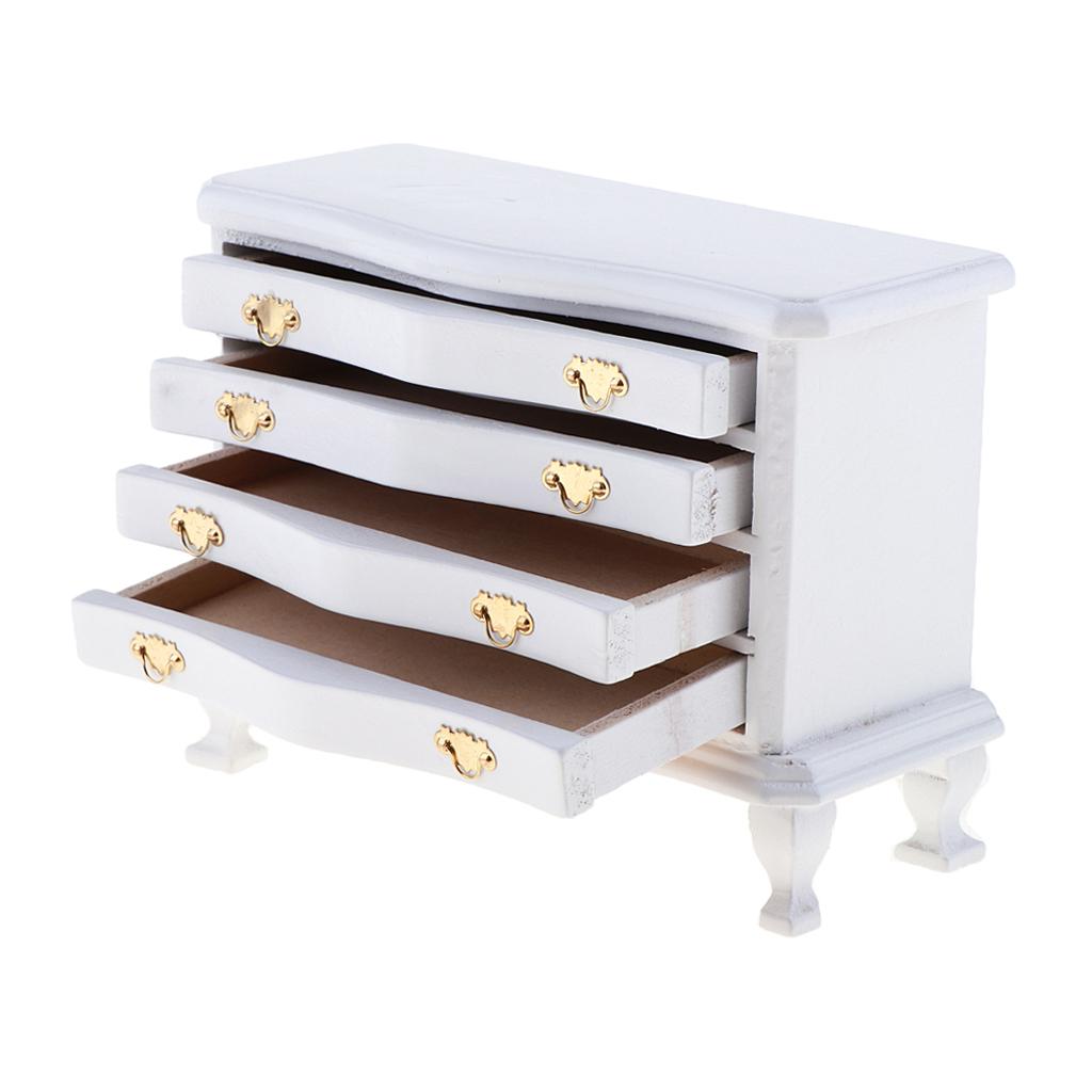 1/12 Dollhouse Miniature Furniture White Dresser 4-Drawer Cabinet Living Room Bedroom Life Scenes Decor Accessories