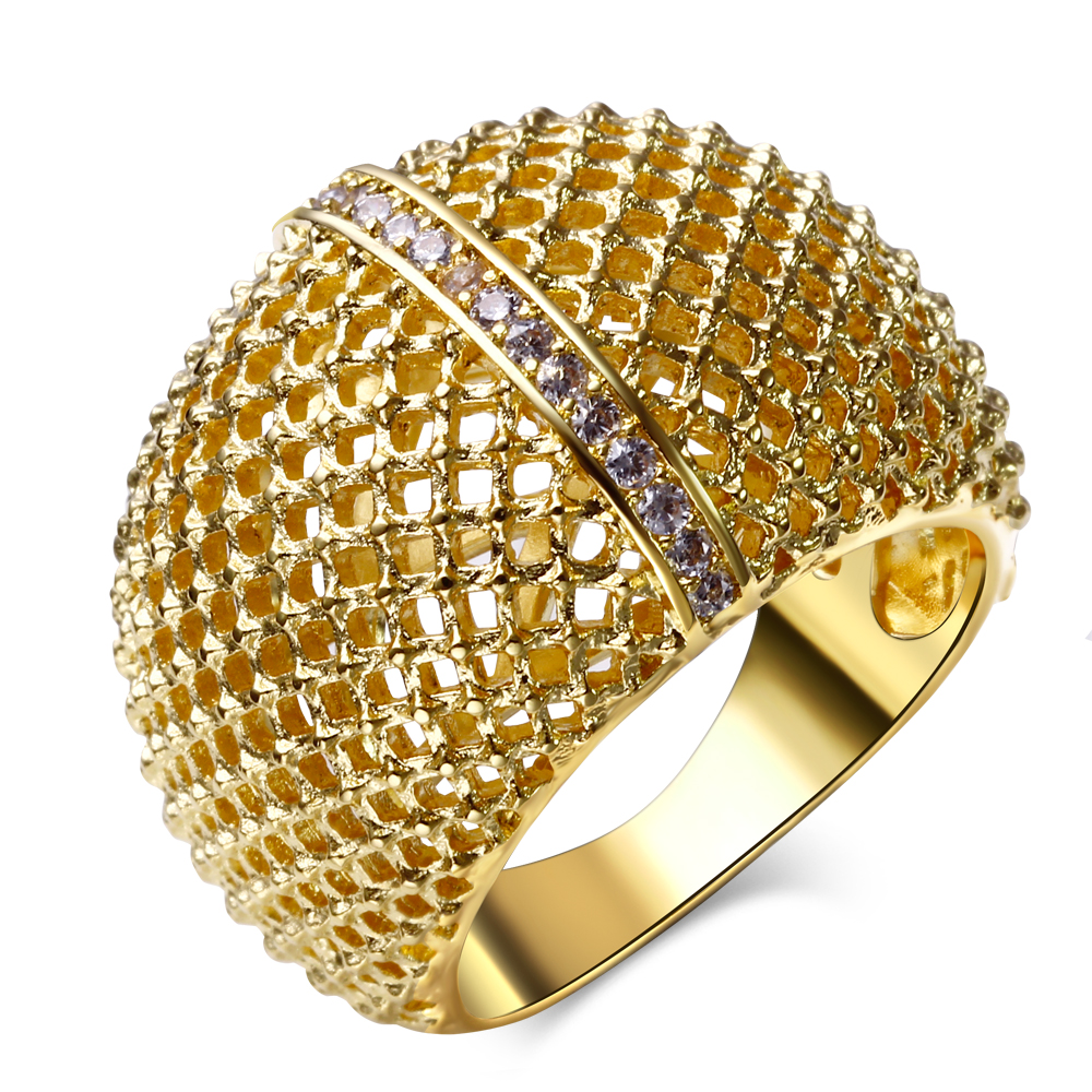 The New Popular Jewelry! Hollow Design in 18k Gold and Rhodium Plate Bright zirconia Rings(China (Mainland))