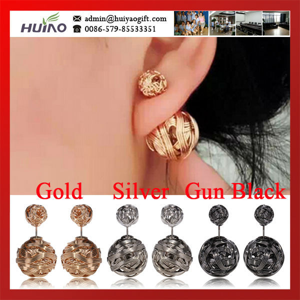 2015 Cc Brincos Trendy Women Pendientes Hot Selling New Silver,gold And Gun Color Double Metal Wire Wrapped Sides Stud Earrings(China (Mainland))