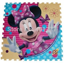 Hot-selling  9pcs Pink Minnie mouse head Crawling Rug Foam Puzzle Mat  Floor EVA Soft  Baby Kids Play in Room Protection mat(China (Mainland))