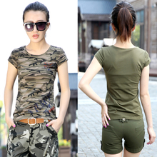 Buy Summer 2017 Camouflage military cotton casual o-neck short-sleeve elastic slim women's girls t shirt tops clothing clothes for $11.90 in AliExpress store