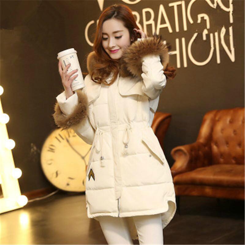 Women Long Parka Hooded Real Fur Collar White Duck Downs Jacket manteau femme Korean Slim Plus Size Winter Coat 2015 LJ3314